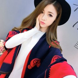Wholesale Capes Shawls Ponchos For Women - 2016 Fashion Winter Oversized Scarves For Women Acrylic Imitated Cashmere Warm Pashminas Lovely Bear Printed Cape Shawl Tippet F004