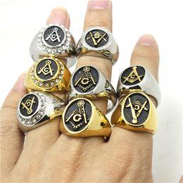 8pcs Set Polishing Silver&Golden 316L Stainless Steel Free masonry Ring Masonic Freemasonry Mens Ring