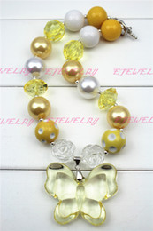 Yellow Butterfly yellow Beads chunky necklaces for girls and kids CB253