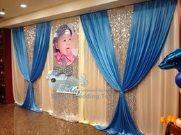 Wholesale TOP Sale White Blue Color Wedding Backdrop Curtain Stage Background ft ft Include The Silver Color