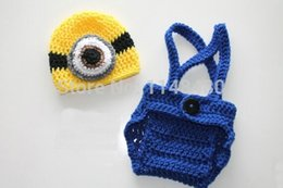 Wholesale Animation movie quot Despicable me quot series of baby hat suit Crochet Boy and Girl Hat and Diaper Cover Overall Suspenders
