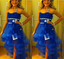 Halter Girls Pageant Gowns Sequins Beads Tiered Royal Blue Flower Girl Dress For Teens Tulle Sash Kids Formal Wear Girls Wedding Party Dress