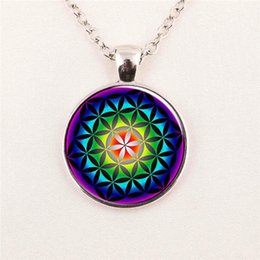 Wholesale Picture Flower of Life Pendant Chakra Necklace Sacred Geometry Jewelry Art Glass Cabochon pendant glass gemstone necklace