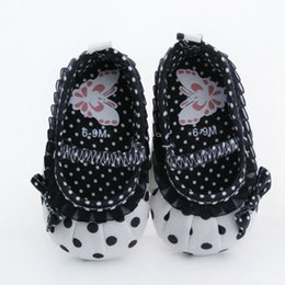Wholesale-Cute children's shoes white-black dot Baby Shoes White-black soft sole baby shoe