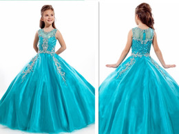 Wholesale Rachel Allan Perfect Angel Lovely Turquoise Beaded Sweep Length Girls Pageant Dresses Gorgeous Flower Girl Dress Ball Gowns