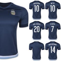 Wholesale Argentina Soccer Jersey MESSI DI MARIA Blue Soccer Jerseys Argentina KUN AGUERO Kits MARADONA Top Thailand Fans Version