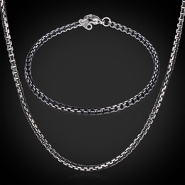 Wholesale Cool Black Aluminium Alloy Necklace Bracelet Set For Men Or Women High Quality MM Box Link Chain Jewelry Sets GNH204
