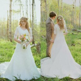Spring Modest Wedding Dresses with Half Sleeves V Neck Sweep Train Beach Garden Lace Wedding Bridal Gown