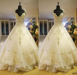 Hot Luxury V-Neck Ball Gown Long Train Silk Organza Lace Applique Zuhair Murad 2014 Church Wedding Dresses Crystal Beaded Bling Bridal Gowns