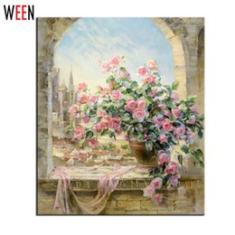 Wholesale Frameless Window Flowers Scene DIY Painting By Numbers Kits Coloring Painting By Numbers Home Decoration Wall Art Picture