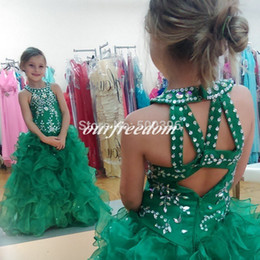 Custom Lovely Green Ball Gown Flower Girl Dresses with Ruffles 2019 Girls Formal Gown Crystals Sequins Flower Girl Dresses for Weddings