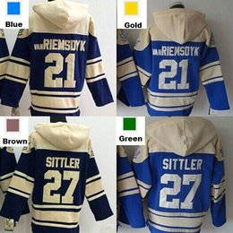 2016 New, 21 James Van Riemsdyk 27 Darryl Sittler Blue Ice Hockey Hoodies Jersey Sweatshirt Embroidery logos Stitched S-3XL
