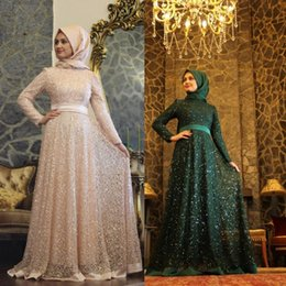 2016 New Evening Gowns Formal Muslim Long Sleeve Evening Dress Party Arabic Gowns Long Sleeves Sequin Beaded Lace Floor Length
