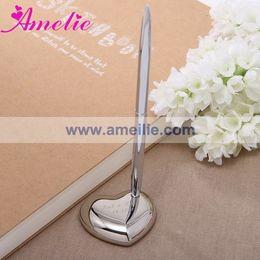 Bolígrafos personalizados boda en Línea-Al por mayor con el envío libre de aleación de zinc titular de la pluma para la plata personalizada de los regalos de boda del banquete de boda