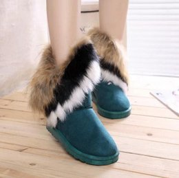 Wholesale 2015 winter snow boots large wool export imitation fox fur boots shoes women boots Piwama tassel high cylinder