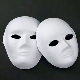 DIY Blank Unpainted Masks For Male Female Paper Pulp Full Face Plain White Fine Art Painting Programs Net 40g 50pcs lot