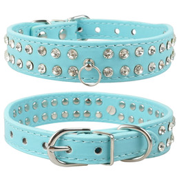 New Pu Leather Dog Collars 2 Rows Rhinestone Dog collar diamante Cute for Small Dogs Collar