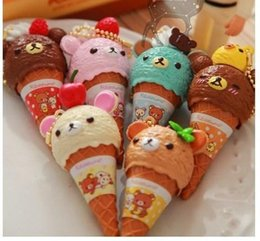 Wholesale cm Kawaii san x rilakkuma squishy ice cream re ment ball pen key charm bag charm Ballpoint Pens