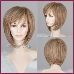 Wholesale 35cm inch Women Nice short Natural straight wig Ash blonde Stylish lady hair wigs synthetic