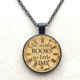 So Many Books So Little Time Logo Pendant Necklace Fashion Handmade Vintage Chain Choker Statement Necklace Jewelry