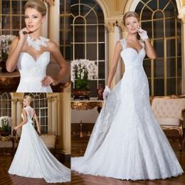 2016 Mermaid Wedding Dresses with Detachable Straps Bridal Gowns Sweetheart Sleeveless Beaded Appliques Lace Wedding Gowns with Belt