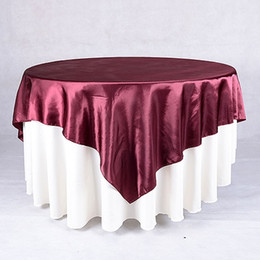 Wholesale 10pcs Satin Table Overlay quot x quot Table Cloth for Wedding Decoration Table Cover Square Table Cloth For Wedding Supplies Custom made Size
