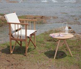 Wholesale Contemporary Sets Table and Chair Outdoor Furniture Solid Wood Folding Director Chair For Beach Camping Garden Wooden Oak Round Side Table