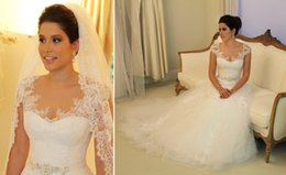 Wholesale 2015 vestido de noiva Sexy Sheer Cap Sleeves A Line Lace Wedding Dresses Tulle Applique Beach Garden Bridal Gowns With Beaded Sash PD116