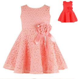Faldas para las muchachas de los niños en Línea-Vestido sin mangas encantador de las muchachas del chaleco del cordón de la falda de la princesa del envío libre de los niños de los niños del bebé de 3 colores # 815