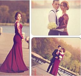 Wholesale Mermaid Burgundy Prom Dresses with See Through Long Sleeves Sweetheart Lace Appliques Floor Length robe Videos Evening Women Gowns