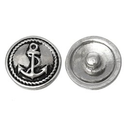 Fashion Snap Jewelry Button Round Antique Silver Fit Bracelets Anchor Pattern 20mm Dia,Knob Size:5.5mm,5 PCs 2015 new