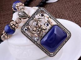 blue*red diamond holoow flower squqre pendant (7.5*4.3cm) jade beads chain lady's necklace (woniu152)