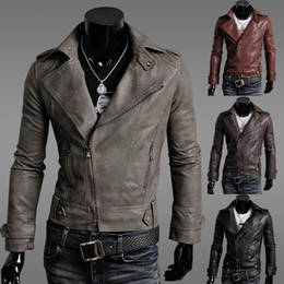 2015 New Men PU Jackets Motorcycle jackets Soft Shell leather sleeve denim Men's slim Jackets