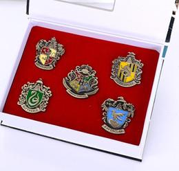 Wholesale Harry Potter Metal Brooch Cosplay Badge Ravenclaw Hogwarts Slytherin Hufflepuff Badge Metal Pins set high quality