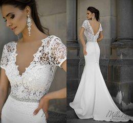 2016 Lace Crystals Beach Wedding Dresses V-neck Short Sleeves Mermaid Wedding Gowns Sexy Bridal Dresses W239