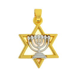 Free shipping New Fashion Easy to diy 20*31 mm Jewish alloy rhodium faith Menorah and gold David star charm 20pcs jewelry making fit for nec