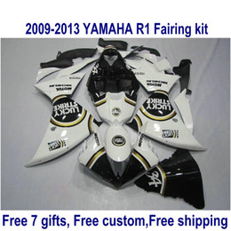 Kit de carénage de moto ABS pour YAMAHA YZF-R1 2009-2011 2012 2013 noir blanc LUCKY STRIKE YZF R1 carénages set 09-11 12 13 HA59 à partir de fabricateur