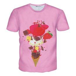 Crème glacée animale à vendre-T-shirts femmes / hommes Glaces T-shirt t-shirt imprimé peinture rose casual chemise à manches courtes été 3d Harajuku T-shirts