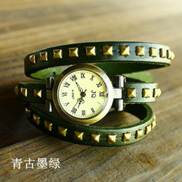 Wholesale-2015 New Arrival Free shipping wholesale dropship top sale 3 ring punk watch women leather brand