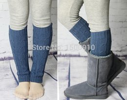 Wholesale-Free Shipping Thick Leg Warmers Hand Knitted Boot Socks Large Cable Knit Leg Warmers Cover Ice Skating Socks 7 Colors 2021