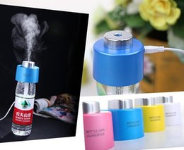 Wholesale USB Portable ABS Water Bottle Cap Humidifier Purifier DC V Office Air Diffuser Aroma Mist Maker with Absorbent Filter Sticks Free Ship