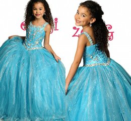 Wholesale 2015 New Hot Sale Gorgeous Exquisite Sequined Beaded Straps Ball Gowns Sweet Kids Stunning Birthday Dresses Girls Pageant Gowns AH298