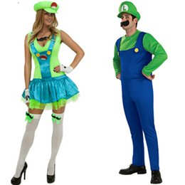4 Piece Women's Red Green Super Mario Plumbers Couples Costume Dress Masquerade Halloween Party Cosplay for Lady Girl Size M L XL Freeship