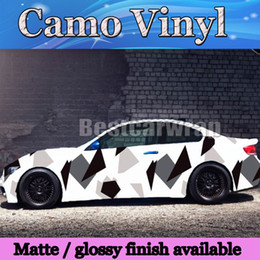 Large balck white Pixel Camoulfage vinyl car wrapping film arctic Camo Film for Vehicle covering styling with Air Free size 1.52x30m 5x98ft
