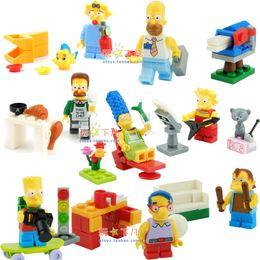 Wholesale The Simpsons Homer Simpson Marge Simpson Bart Simpson Lisa Simpson Mini Figure Building Blocks toy Gift