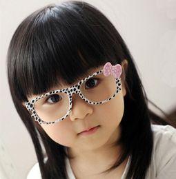 Fashion Kids Leopard Sunglasses Frames Retro Kitty Cat Dots Bow no Lens Frame Cool Nerd Geek Glasses Bowknot Glass Frame Girls Accessories