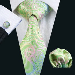 Green Paisely Neck Tie Set Pocket Square Cufflinks Jacquard Woven Formal Mens Silk Tie Work Meeting Leisure N-0645