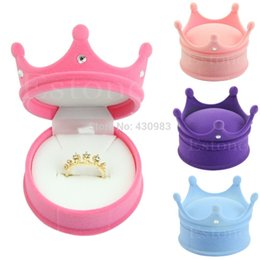 Wholesale-New Crown Velvet Ring Display Box Ear Stud Necklace Jewelry Case Container Gift