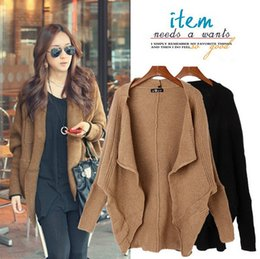 Wholesale Korean Clothing Crochet - 2016 New Autumn and Winter Korean Women Clothing Long Paragraph Batwing Sleeve Shawls Loose Cardigan Sweaters Outwear Apparel