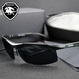 Wholesale-Men Polarized Sunglasses Goggles men's Car Driving Glasses Polar Anti-Glare Silver Black Alloy Frame Glasses Male